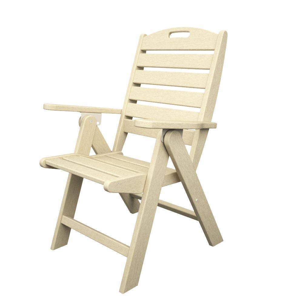 high back chair patio furniture office chairs big and tall polywood nautical highback sand plastic outdoor dining