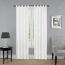 In. L Light Filtering White Poly Cotton Tab Top Curtain
