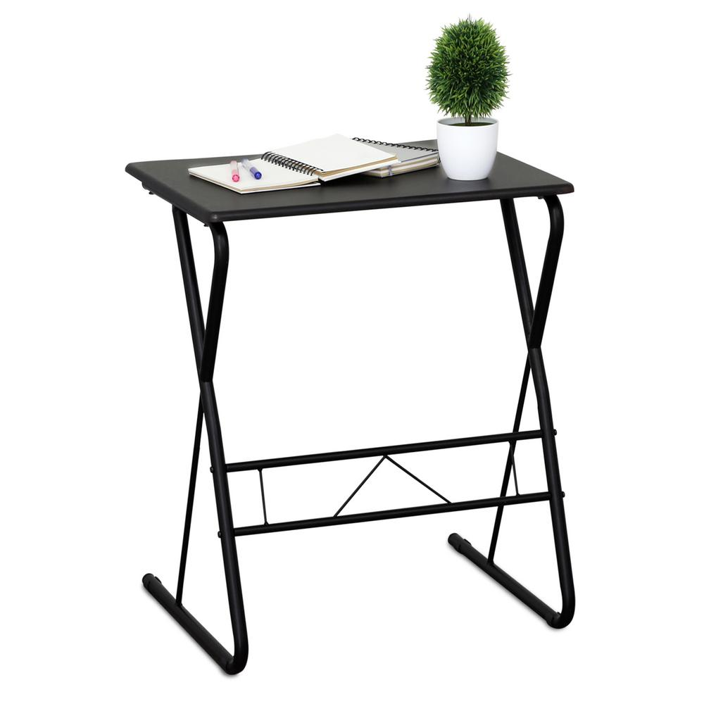 Small Writing Desk Metal Frame Espresso Wood Top Compact