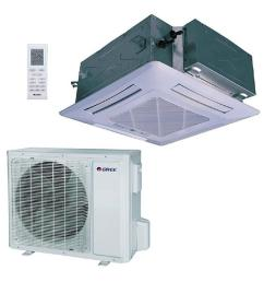 gree 23800 btu ductless ceiling cassette mini split air conditioner with heat inverter and remote 230volt uma24hp230v1acs the home depot [ 1000 x 1000 Pixel ]