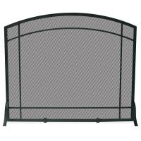 UniFlame Black Wrought Iron Single-Panel Fireplace Screen ...