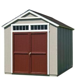 handy home products installed majestic 8 ft x 12 ft wood storage shed with [ 1000 x 1000 Pixel ]