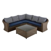 Hampton Bay Maldives Brown Wicker Patio Sectional Set With