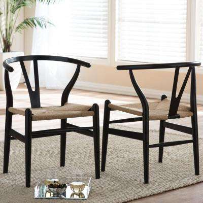 black parsons chair rio backpack with cooler 16 5 dining chairs kitchen room wishbone mid century finish wood 2 piece set