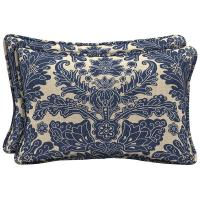 Hampton Bay Chelsea Damask Lumbar Outdoor Pillow (2-Pack ...