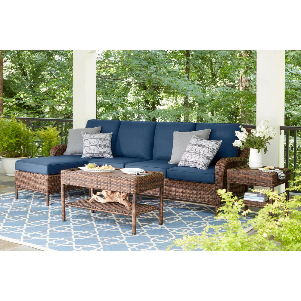 Wicker Patio Chair Hampton Bay Cambridge Brown 5 Piece Wicker Outdoor Sectional Set With Blue Cushions
