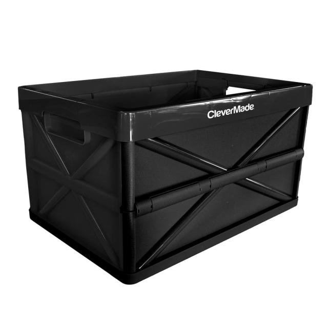 Clevermade Clevercrate Hercules 46l 48 6 Qt Plastic Collapsible Storage Box In Black
