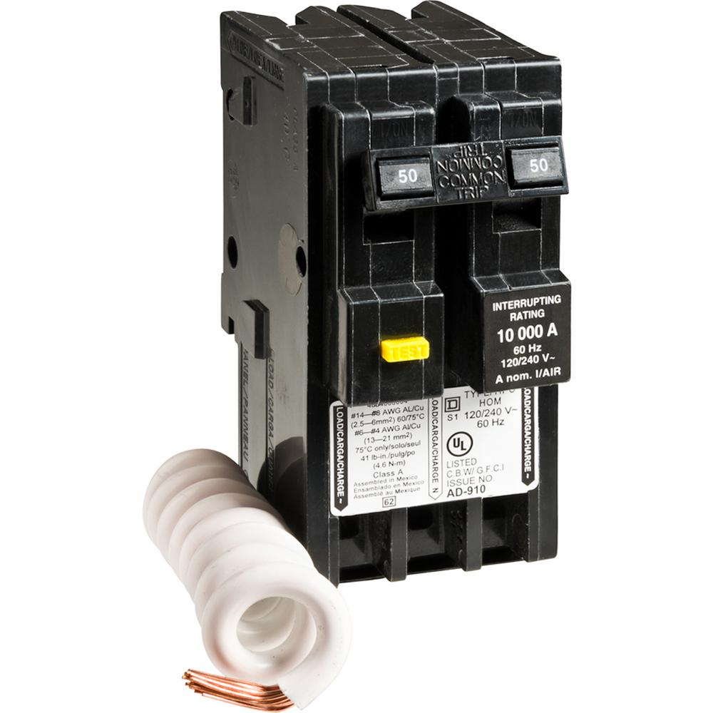 medium resolution of square d homeline 50 amp 2 pole gfci circuit breaker hom250gficp to wire 50 hot tub breaker on square d electrical breaker box wiring