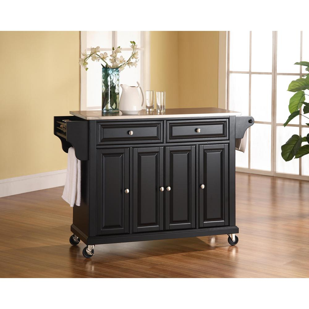 crosley kitchen cart christmas rugs black with stainless steel top kf30002ebk the home depot