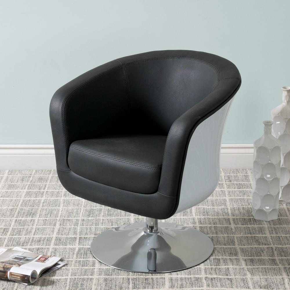 leather tub chair tommy bahama beach uk corliving mod modern black and white bonded dln