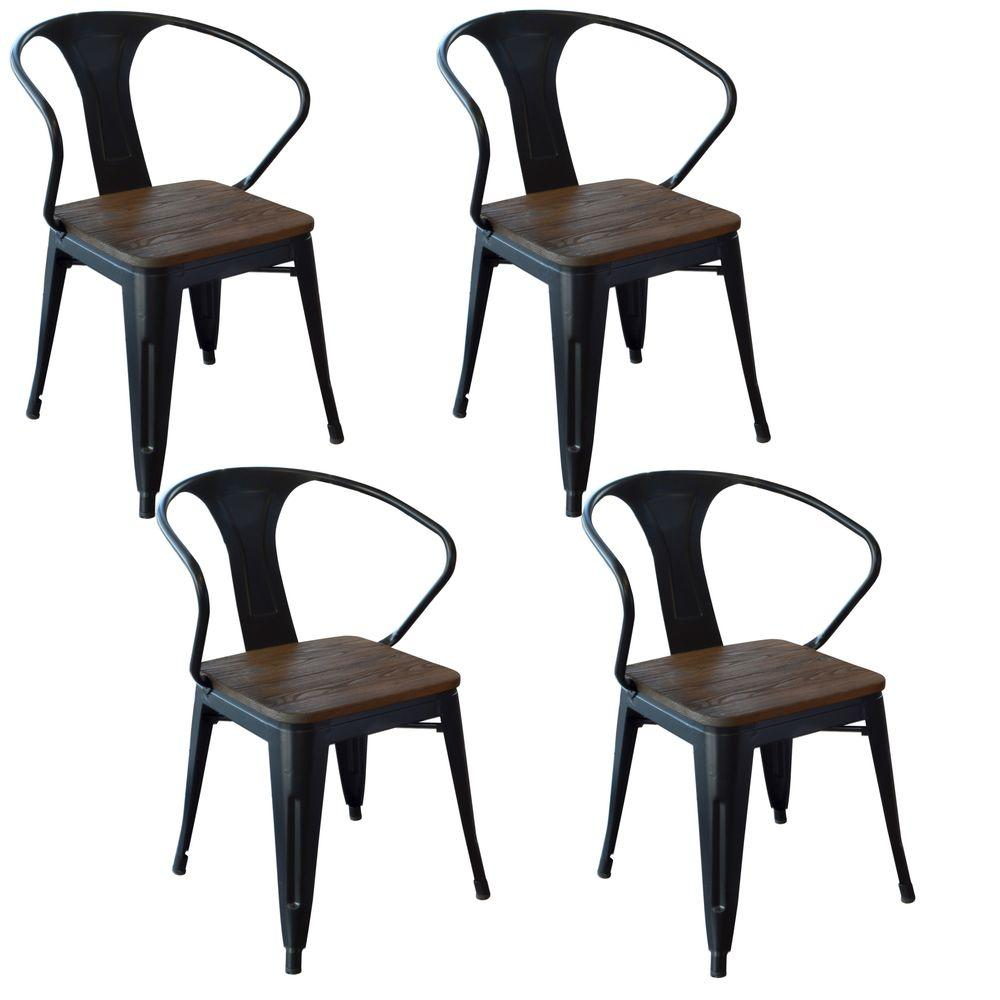 AmeriHome Black Metal and Wood Dining Chair (Set of 4