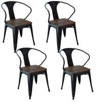 AmeriHome Black Metal and Wood Dining Chair (Set of 4 ...