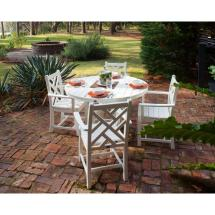 Polywood Chippendale White 5-piece Plastic Outdoor Patio