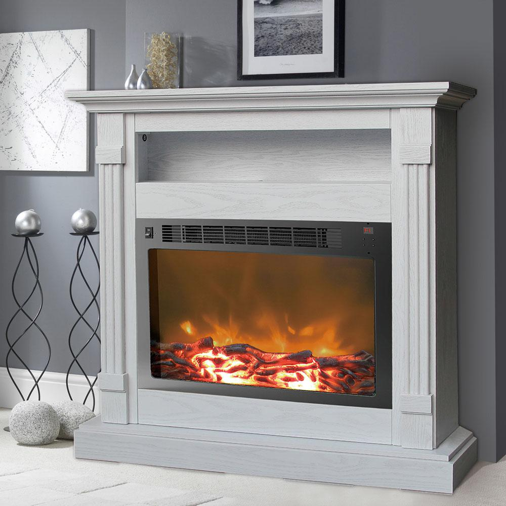 Cambridge Sienna 37 in White Electronic Fireplace Mantel with InsertCAM34371WHT  The Home Depot