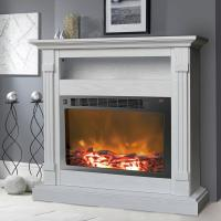 Cambridge Sienna 37 in. White Electronic Fireplace Mantel ...