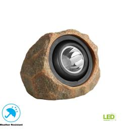 hampton bay 1 light solar outdoor integrated led rock spot light [ 1000 x 1000 Pixel ]