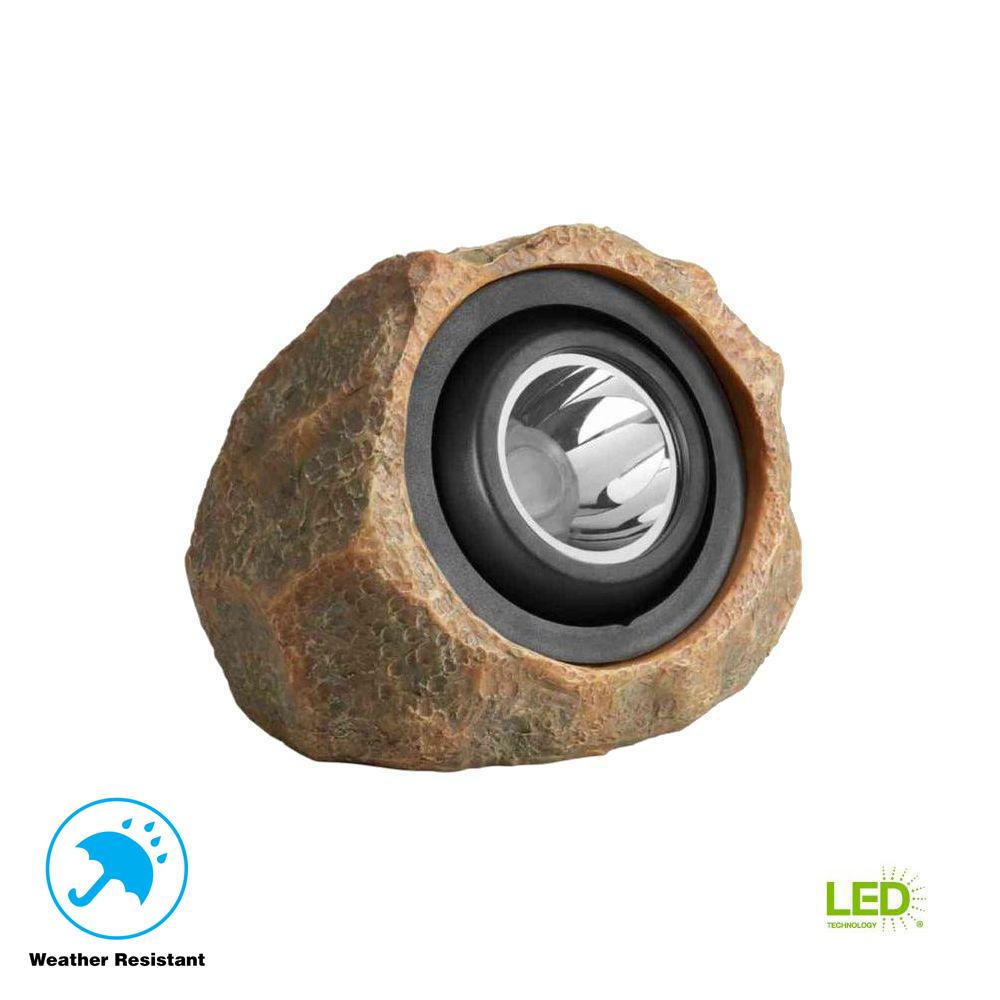 medium resolution of hampton bay 1 light solar outdoor integrated led rock spot light