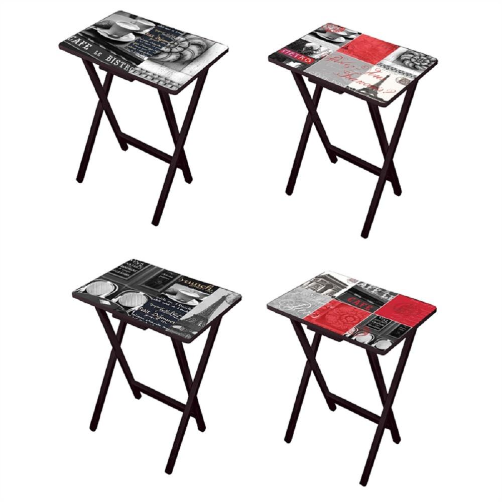parisian cafe table and chairs clear acrylic office chair uk cape craftsman paris multi colored tray with stand set of 4