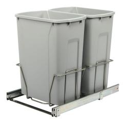 Kitchen Trash Can Pull Out Narrow Cabinets Real Solutions For Life 18 75 In H X 14 38 W 22 D Steel Cabinet 35 Qt Double Platinum