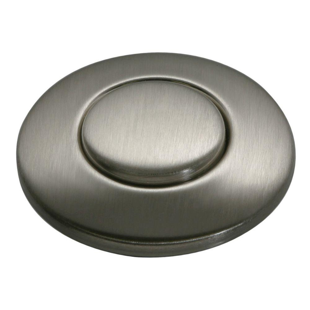 hight resolution of sink top switch push button in satin nickel for garbage disposals