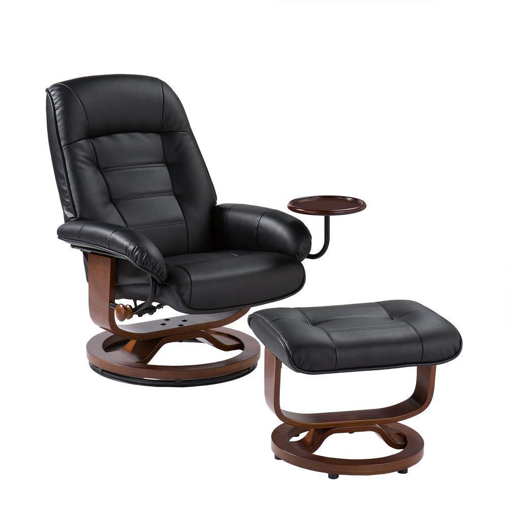 black chair and ottoman quantum power chairs leather reclining with up1303rc the home depot