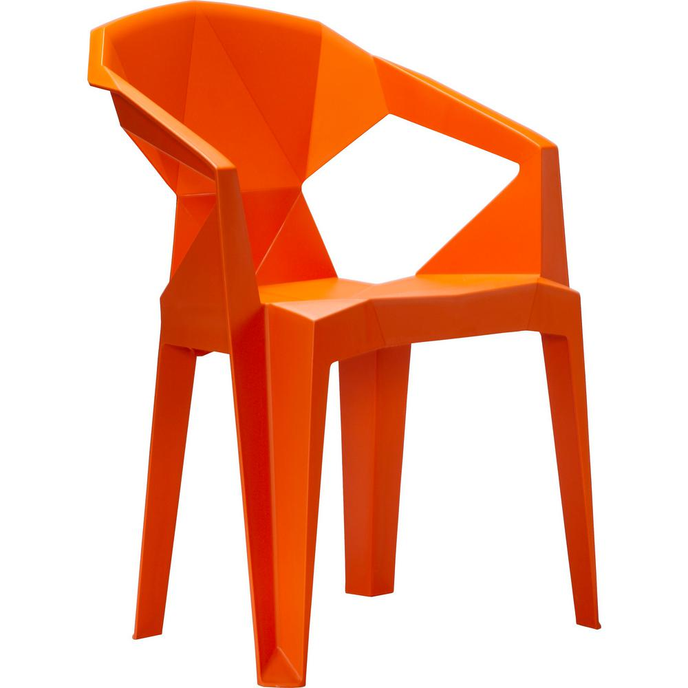 Stacking Dining Chairs Vifah 3d Stacking Plastic Outdoor Dining Chair 2 Chairs Included In Orange