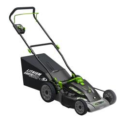 earthwise 18 in 3 in 1 40 volt lithium ion cordless battery walk behind electric push mower two batteries charger included 60418 the home depot [ 1000 x 1000 Pixel ]