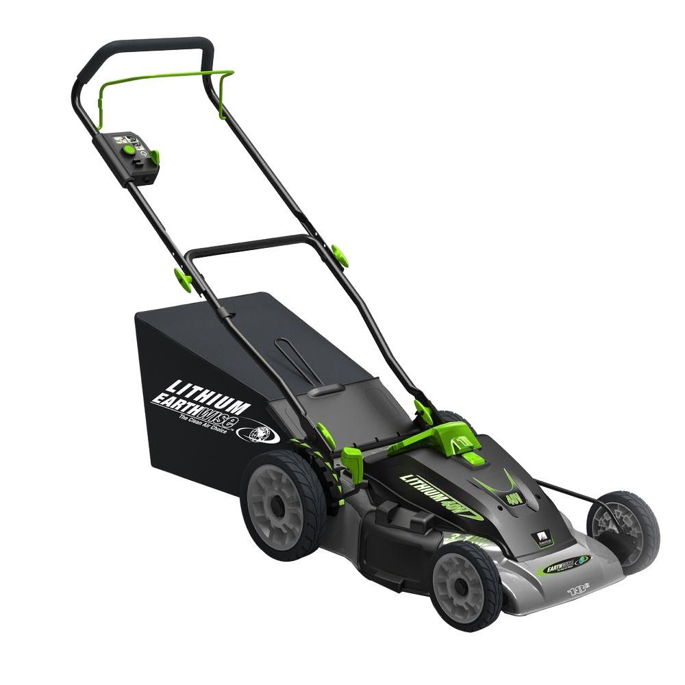 hight resolution of earthwise 18 in 3 in 1 40 volt lithium ion cordless battery walk behind electric push mower two batteries charger included 60418 the home depot