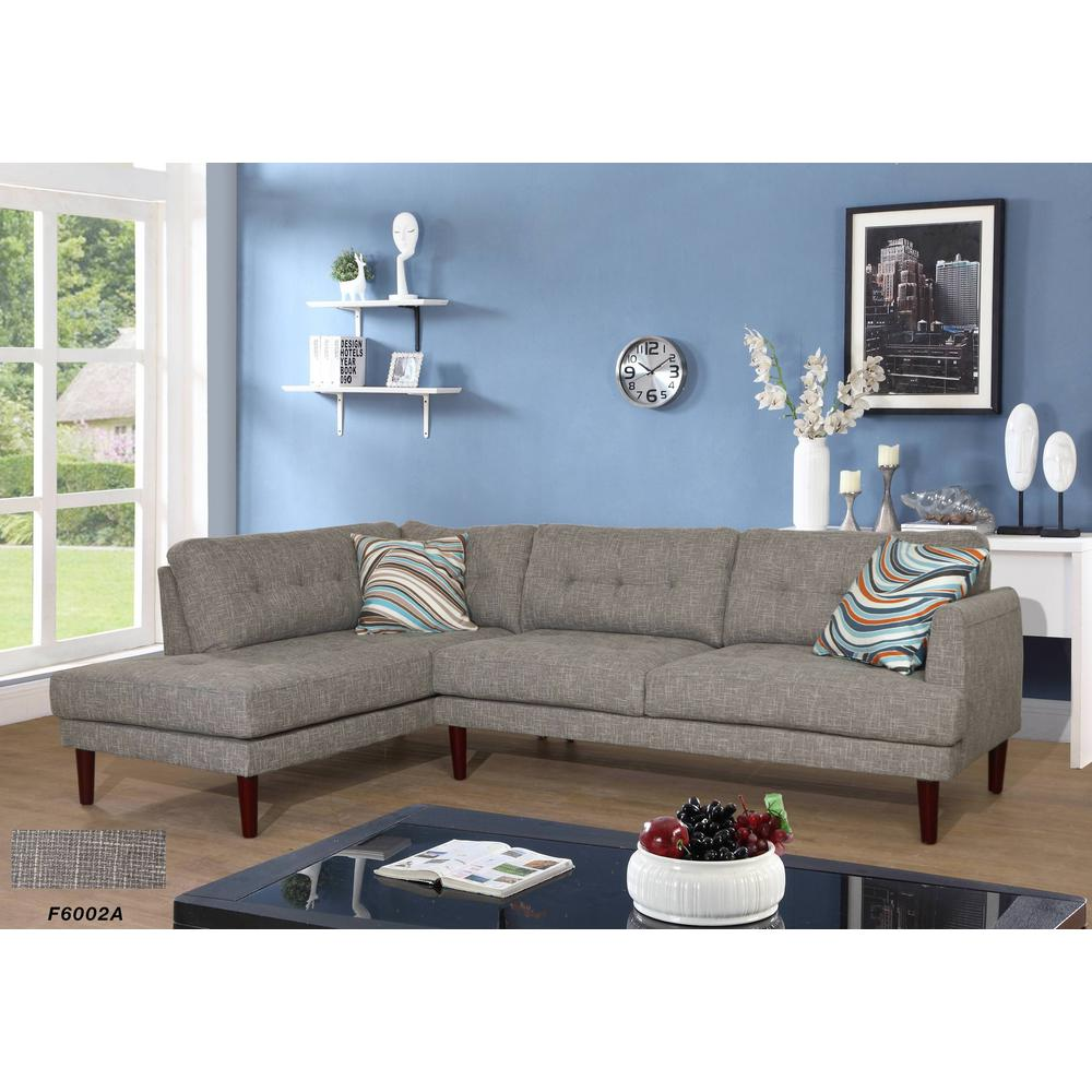 tufted linen sectional sofa best cover for dogs gray 2 piece set sh6002a the home depot