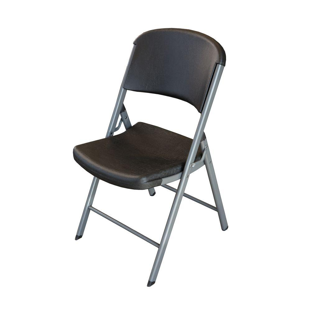 high folding chair vinyl fabric to cover chairs lifetime black set of 4 80407 the home depot