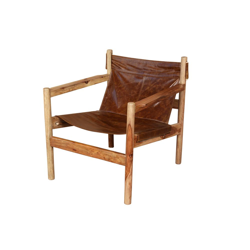 Leather And Wood Chair Genoa Brown Leather And Natural Sheesham Wood Leather Sling Chair
