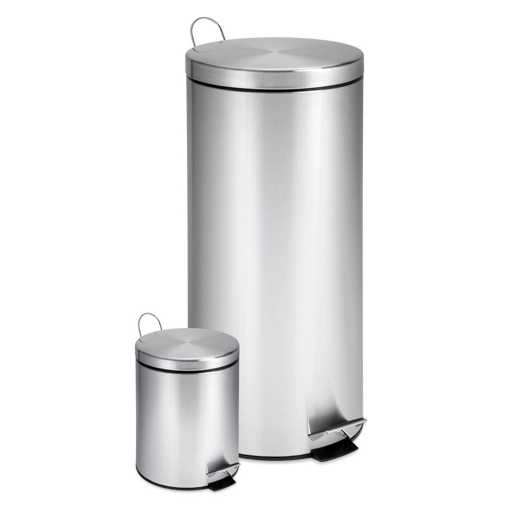 stainless steel kitchen trash can cabinet designs in india honey do 30l and 3l step combo round