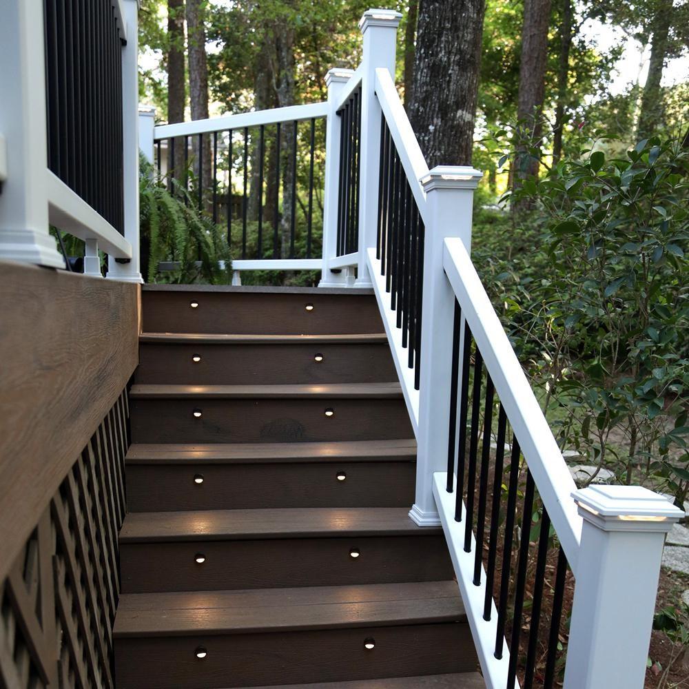 Trex 6 Ft X 36 In White Rail And Round Aluminum Baluster Stair | Trex Enhance Stair Railing | Composite Decking | Trex Transcend | Lighting | Installation Instructions | Vintage Lantern