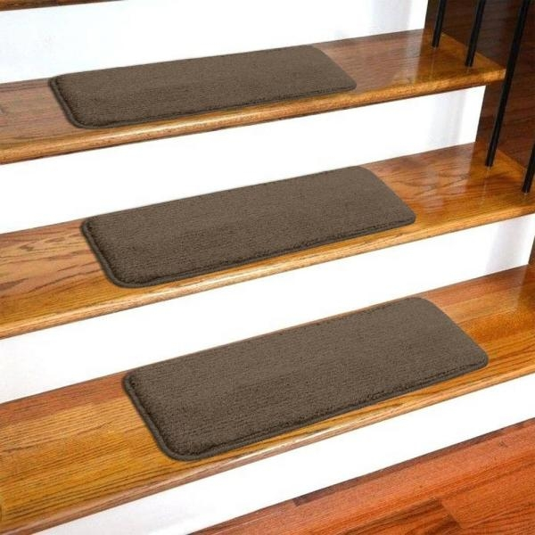 Ottomanson Softy Collection Brown 9 In X 26 In Rubber Back Stair | Carpet Stair Treads Home Depot | Pattern | Lowes | Metal Stair | Wood Stair | Garden