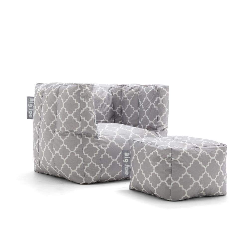 big joe bean bag chair carolina and table cube with ottoman gray quatrafoil smartmax