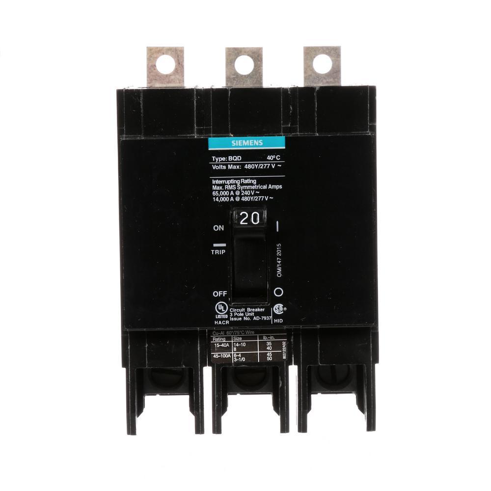 medium resolution of 20 amp triple pole type bqd bolt on circuit breaker