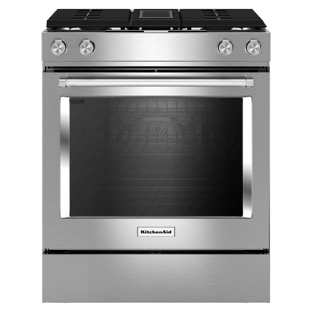 hight resolution of kitchenaid 6 4 cu ft downdraft slide in dual fuel range with self