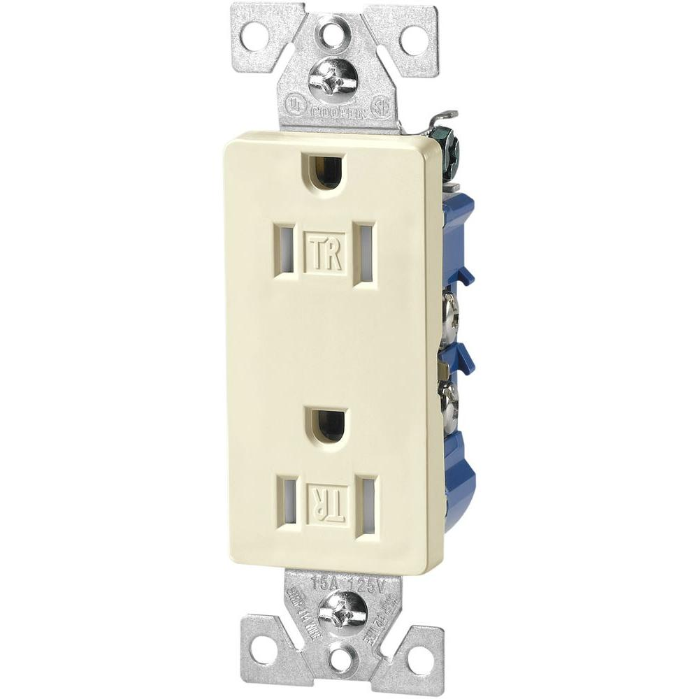 medium resolution of eaton 15 amp tamper resistant decorator duplex outlet receptacle with side and push wire light