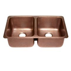 Copper Kitchen Sink Hood Cleaning Sinkology Rivera Luxury Series Undermount Solid 32 In Double Bowl Hammered