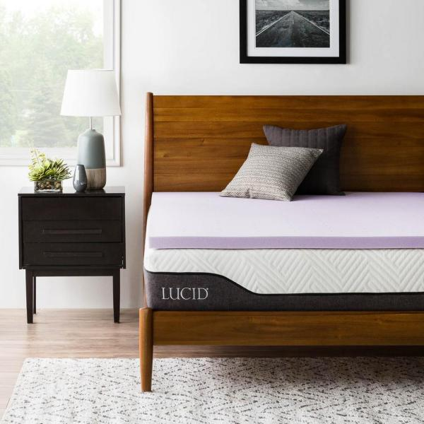 Lucid 2 In. Twin Xl Lavender Infused Memory Foam Mattress Topper-hdlu20tx30vt - Home Depot