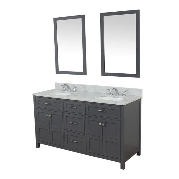 Unbranded Vancouver 61 In W X 22 In D Bath Vanity In Gray With Marble Vanity Top In White With White Basin And Mirror Hkgb Vfn61 D Gy M24 The Home Depot
