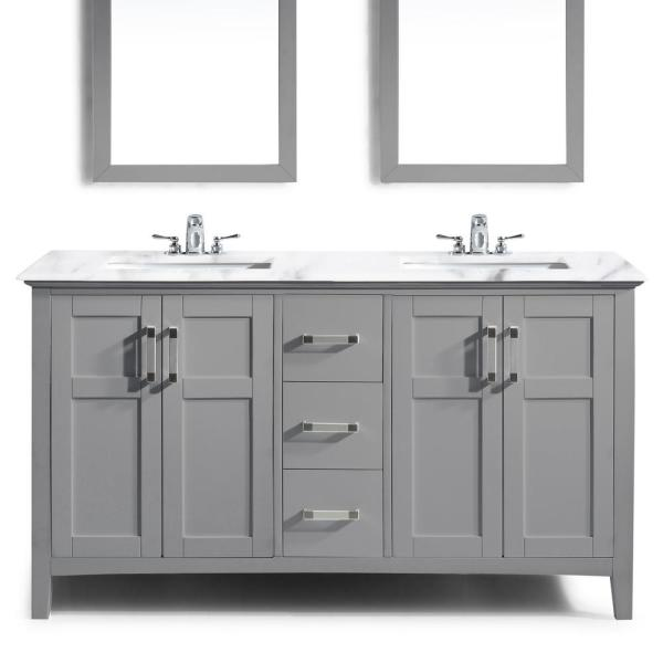 Simpli Home Winston 60 In Bath Vanity In Warm Grey With Marble Extra Thick Vanity Top In Bombay White With White Basin Winstonwg 60 The Home Depot