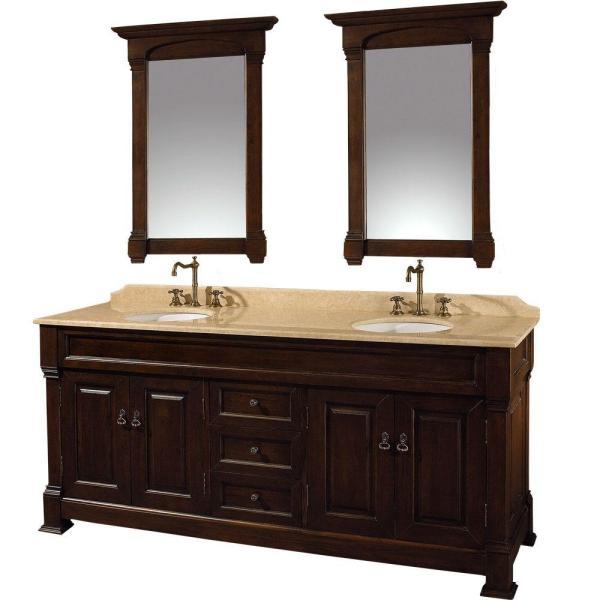 Dark Cherry Bathroom Vanity Double