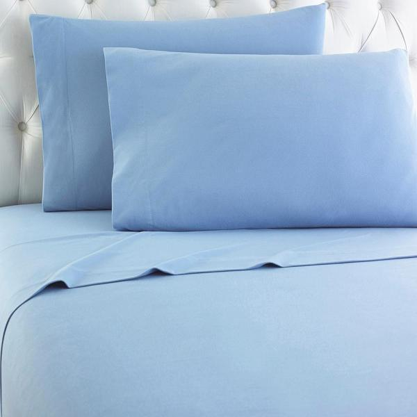 Micro Flannel Queen 4-piece Wedgewood Sheet Set-mfnssqnwdg - Home Depot