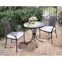 Bistro Chairs Dining Room Rolled Arm Chair Home Styles Black And Tan 3 Piece Tile Top Patio Set With Taupe Cushions