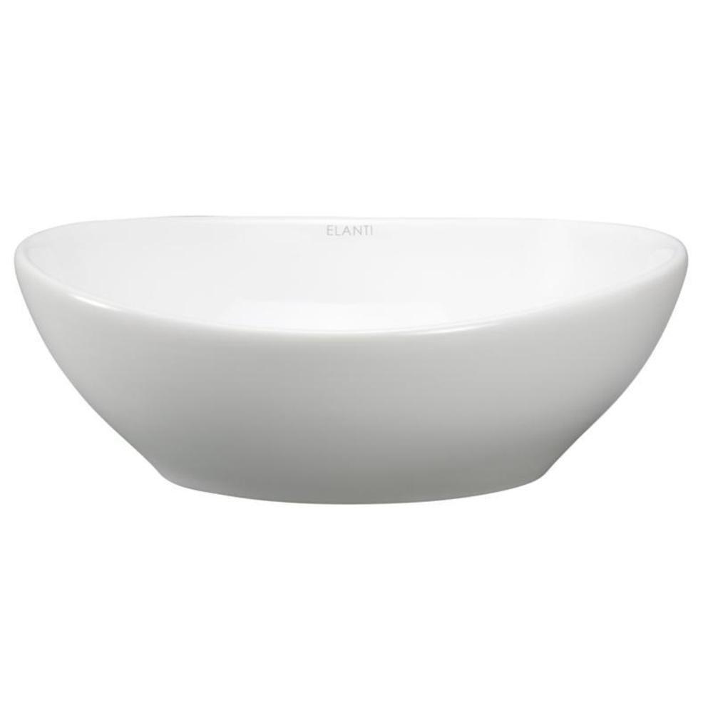 Elanti Oval Vessel Bathroom Sink in WhiteEC9838  The