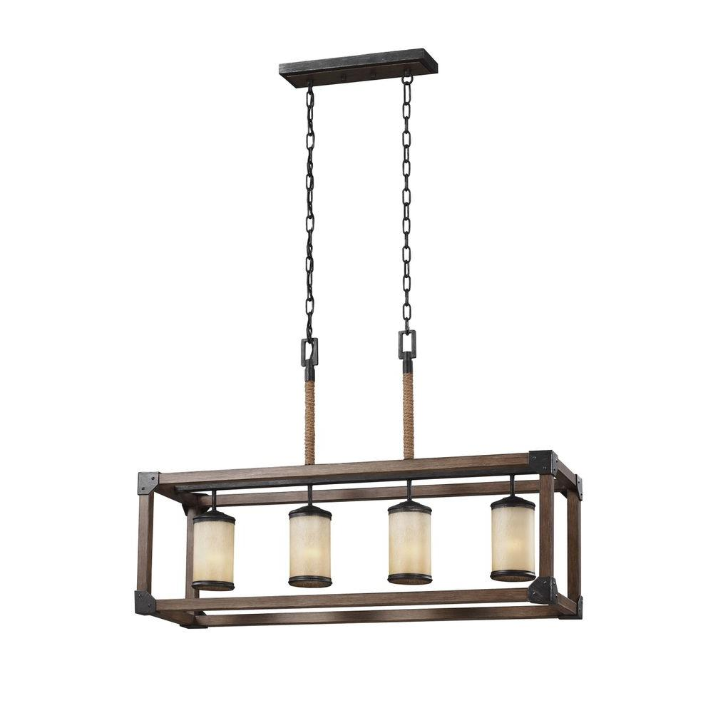 kitchen island light stainless steel shelves for sea gull lighting dunning 36 in w 4 weathered gray and distressed
