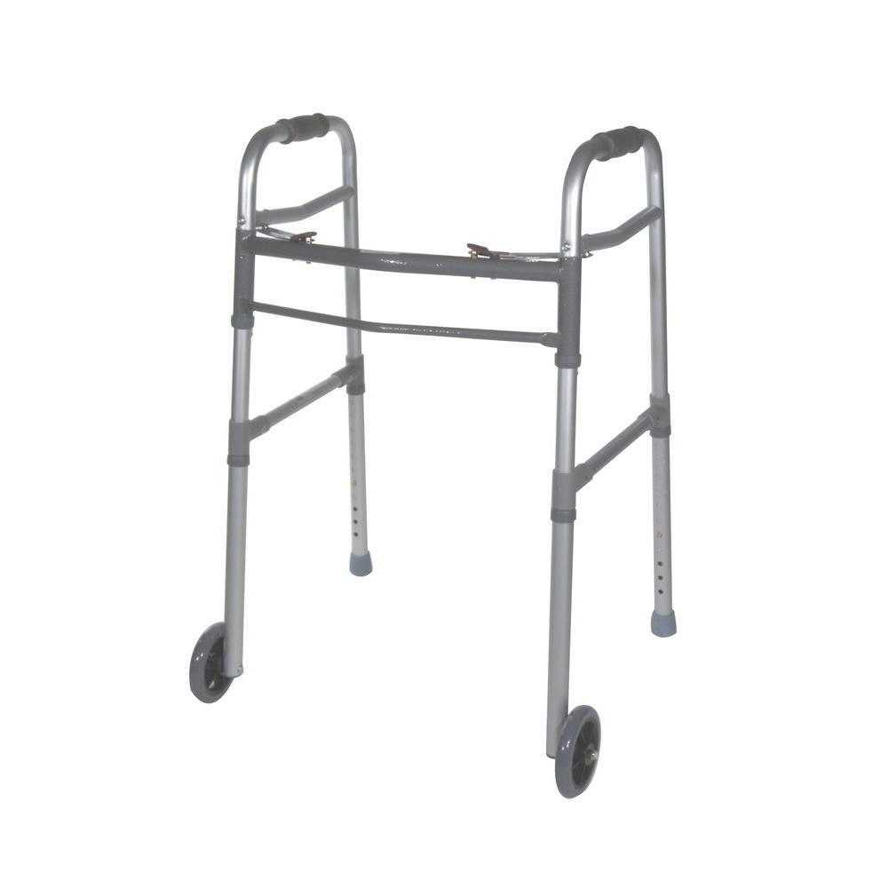 Drive 2-Button Folding Universal Walker with 5 in. Wheels