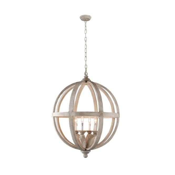 Y Decor Hercules 4 Light Brown Wood Globe Chandelier Lz3225 The Home Depot