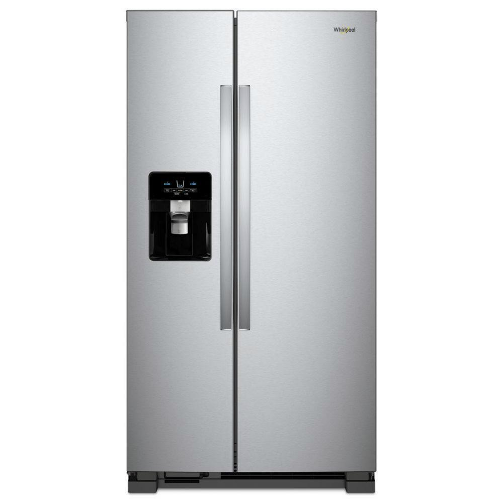 hight resolution of whirlpool 25 cu ft side by side refrigerator in fingerprint resistant stainless steel